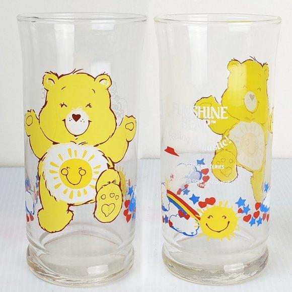 Vintage 80s Care Bear Funshine Bear Drinking Glass